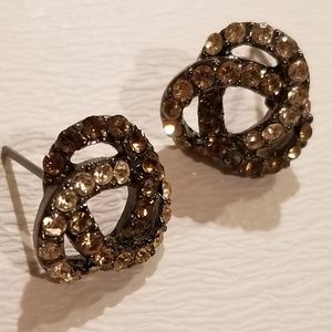 Sparkling Champagne Brown Faux diamond earrings.